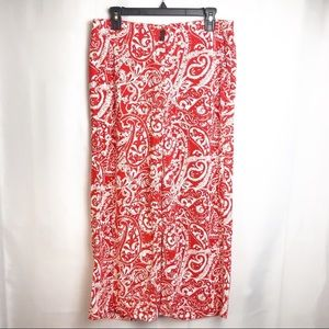 Loft Red and White Crop/Ankle Pants, size 4